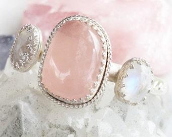 Rose Quartz & Moonstone cuff, Sterling silver, Argentium, stamped, dreamy, feminine, wedding, bride, bridesmaid, romantic, love