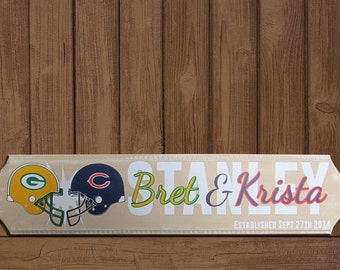 Custom House Divided Family Name Sign. NFL/College. Wedding Gift. Anniversary Gift. Bridal Shower. Football Sign. Gift for him. Home warming