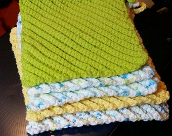 100% cotton crocheted dishcloths set of 5