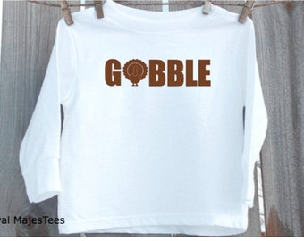 Gobble Thanksgiving Turkey Shirt, Kids Thanksgiving Shirt, Toddler