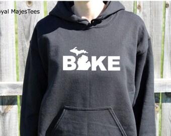 Bike Michigan Hoodie, Michigan Sweatshirt, Home, Mitten