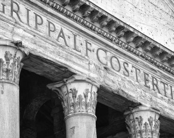 Rome Photography, Pantheon, Rome Print, Black and White, Rome Italy, Europe Decor, Ancient Ruins, Columns, Wall Art, Travel Decor