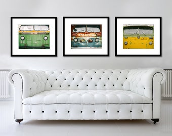 SALE, Set of 3 Prints, Transportation Photography, Vintage Bus, Retro, Boys Room Decor, Wall Art, Primary Colors, Office, For Him, Print Set