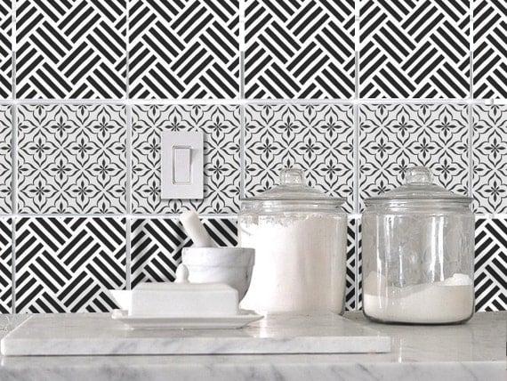 Kitchen Bathroom Tile Decals Vinyl Sticker : Black And White