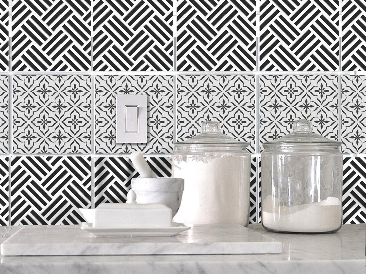 kitchen bathroom tile decals vinyl sticker black and white
