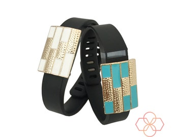 Bundle Pack! -The Colorblock SUMMER Charms in Gold, White and Blue to Dress Up Your Fitbit or Other Fitness Activity Tracker - FREE Shipping