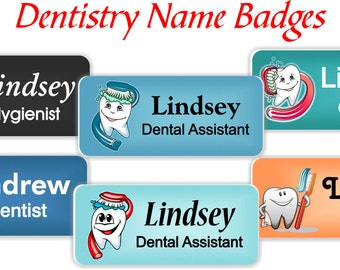 Name Badges with Magnetic Fastener, Dentristry Themed Name Tags, Dental Office Magnetic Name Tags, Magnetic Dental Name Badges - DENT1a