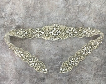 Rhinestone applique, rhinestone and pearl applique, iron on applique, wedding sash applique, rhinestone iron on