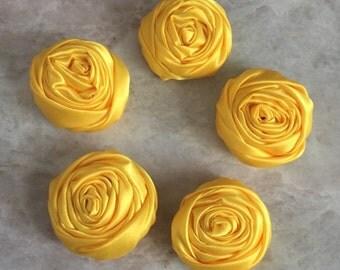 2 inch yellow rosette, yellow satin flowers, headband supplies, roses, headband flowers, wedding flowers, silk flowers, rolled flower