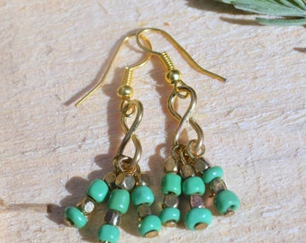 Beautiful upcycled Summer style green glass and metal beads drop handmade earrings