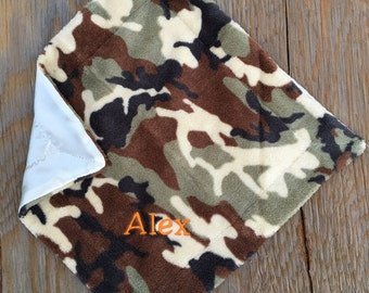 CAMO Fleece Security Blanket w/Stroller Clip ~ PERSONALIZED with NAME