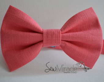 Coral bow tie - Men's bow tie -  Baby bow tie - Child bow tie - Toddler bow tie - Wedding accessories - Linen look - Handmade