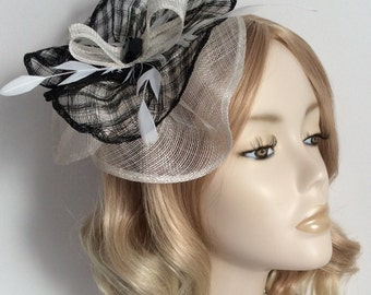 BLACK and WHITE FASCINATOR, Made of sinamay, with Feathers, Lozenge bead, on a small  headband