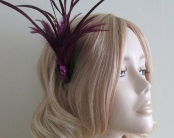 MAUVE FEATHER Fascinator, With sequins, pearls and swarovski crystals, on a small comb