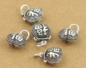 5 Sterling Silver Lucky Charms, Sterling Lucky Charm, Good Luck Charm, Sterling Fortune Charm, Sterling Fu Charm, Chinese Character - E256