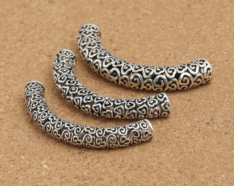 Large Sterling Silver Tube Beads, Sterling Silver Curve Tube Beads, Sterling Silver Hollow Tube Beads, Curved Beads, Spacer Beads