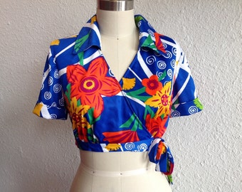 1970s Cropped wrap blouse