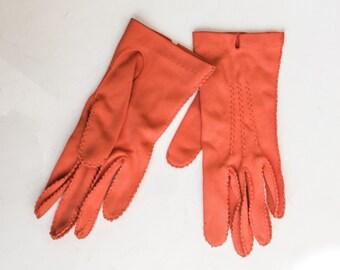 Vintage Mandarin Gloves by Hanson // Mid Century gloves // 50s 60s orange corral gloves // pinked edge size 7