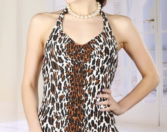 Broad Minded Clothing 1960's Pinup Girl Leopard Print Ginger Swimsuit