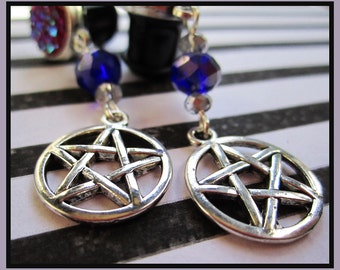"The Craft stretched dangle wiccan pentagram star witch earrings EAR PLUGS you pick the gauge size 2g, 0g, 00g, 1/2"" aka 6mm, 8mm, 10mm, 12mm"