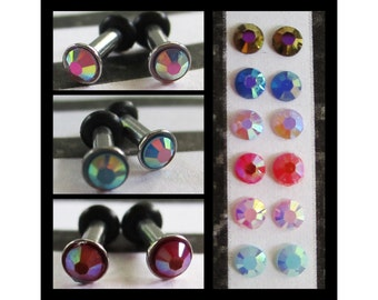 Jelly Drill Beads on a Stainless Steel EAR TUNNELS plug gauge size - 12g - 2mm, you choose the color