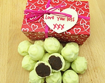 Valentines Gift Chocolate Truffles, coffee and cream