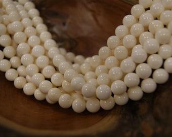 Milk White  6mm 8mm 10mm Round Cow Bone Beads -15 inch strand