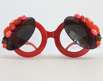 Seeing Red II - Oversized Flip Up Red Round Embellished Sunglasses Glasses Flowers Floral Sunnies