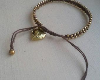 Gold Heart Locket Friendship Bracelet