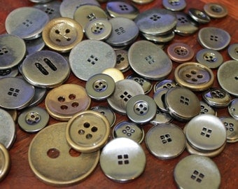 Metal buttons, assorted colors and sizes, medium large metal buttons, old silver, old brass, old copper metal buttons, lot of 30