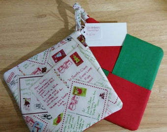 SANTA LETTER POTHOLDERS, Set of 2