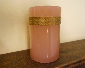 Pink opaline glass/Italian opaline glass/Jewellery box/Vintage opaline