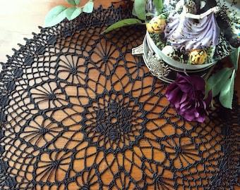 Crochet doily, black, Halloween lace doilie