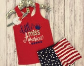 Little Miss 4th of July tank, toddler tanks, Fourth of July, 4th of July toddler shirt, toddler shirts, Miss America, Little Miss, America