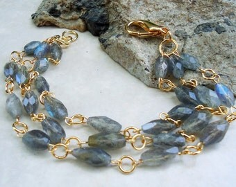 Labradorite Gemstone Bracelet.Triple-strand.Gold.Silver.Beadwork.Multi Strand.Chunky.Flashing Stone.Bridal.Formal.Holiday.Grey.Handmade.