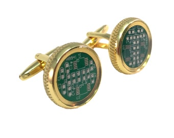 Real Computer Circuit Board Chip Circle With Gold Border Cuff Links