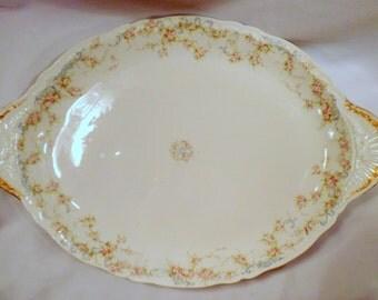 """Theodore Haviland Limoges Schleiger 340 Large Serving Platter, Pink Roses, Blue Scrolls, 18 1/2"""" Length"""