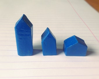 Small blue polymer clay houses