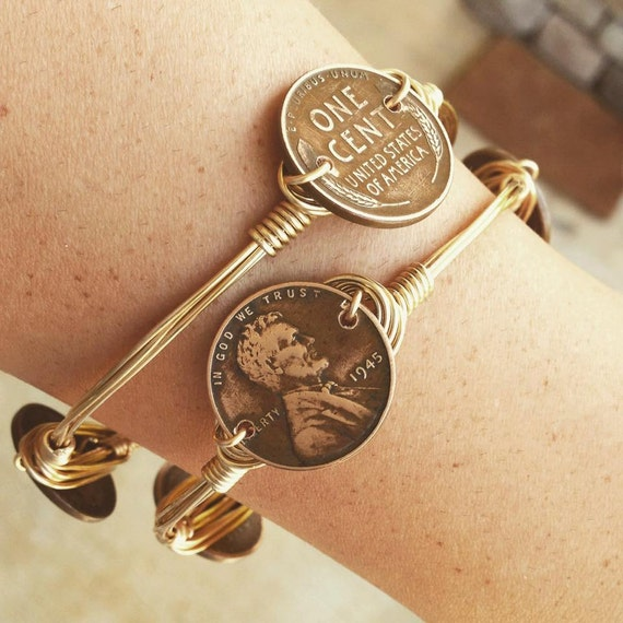 Wheat Penny Jewelry, Stackable Bangles, Wire Wrap Bangles, Non-Tarnish Wire, Beautiful Large Stones,  Bracelets