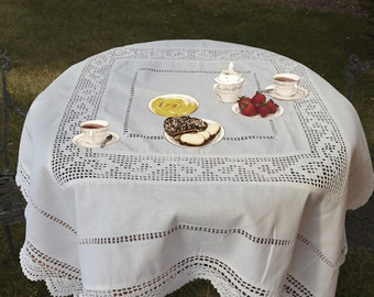"""Vintage Shabby Chic Crochet Linen Tablecloth, Tablec Topper, Table Overlay, 36"""" Square White Xmas Decor Gift Idea"""