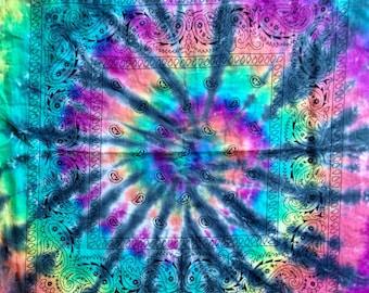 Tie Dye Rainbow Bandana - Handmade - Michigan Made - 100% Cotton - Festival Fashion - Hippie