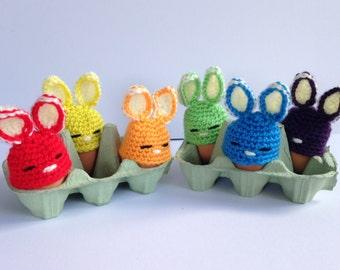 Rainbow bunny egg cozies. Crochet egg cozy. Easter Gift.