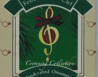 1986 Hallmark Festive Treble Clef Ornament Music Keepsake Christmas Vintage Music Lover