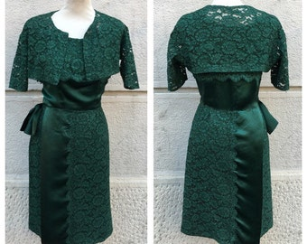 60s Lace Dress with Jacket - Vintage Lace Dress - Tailored Green Lace Dress Size L