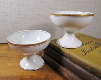 White Glass Custard Cups - Gold Accent Bands - Set of Two (2)