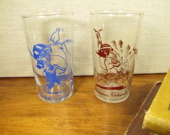 "Vintage Juice Glasses - ""Unwashable Jones"" and ""Lonesome Polecat"" - Copyright UFS 1949"