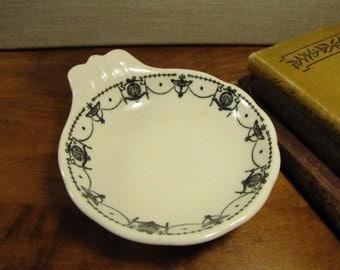Syracuse China - One Handled Dish - Ashtray - Trinket Dish - Black Garland and Urn Border