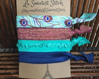Peacock Print Hair Elastics/Bracelets