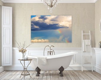 Rainbow Skies ~ Rhode Island, Canvas, Clouds, Rainbow, Sunset, Cheerful Photography, Wall Art, Bathroom, Bedroom, Home Decor, Joules, Art