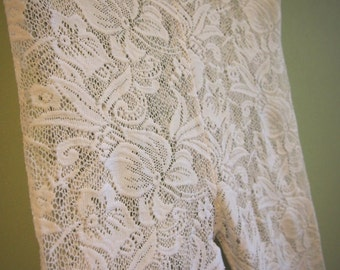 Vintage White Lace Tights / Leggings